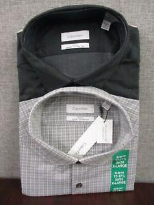 NWT Calvin Klein Men's Slim Fit Stretch Wrinkle Free 2 Pack Dress Shirt Set XL