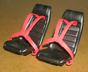 Two 1/18 Scale Race Car Seats with 4-Point Seat Belt Harness Plastic Miniatures