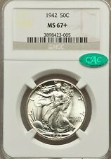 1942 50C MS67+ NGC. CAC. ALMOST MS68 BEAUTY.