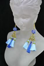 Tassle Chandelier Earrings in Blue and Gold with Shambala Bead