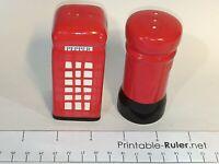 Red post phone box Salt & Pepper Shakers Cruet Set Novelty Vintage KITSCH