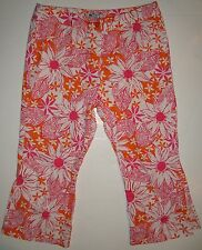 Lilly Pulitzer 4 6 Pink Floral Capri Pants Orange Cropped Capris Ladies