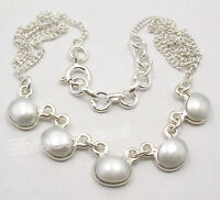 "925 Pure Silver AAA FRESH WATER PEARL MADE IN INDIA New Necklace 16.8"" ARTISAN"
