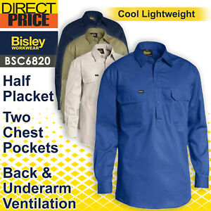 Bisley Lightweight Closed Front Cotton Drill Shirt Long Sleeve BSC6820