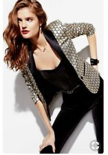 Juicy Couture Black Metallic Gold Blazer Tuxedo Jacket~Fierce Feminine Fun~SZ 0