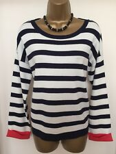 TRIMMED JUMPER TOP by INTUITION UK 16-18 VGC NAVY/WHITE STRIPS STRETCH LOOSE FIT