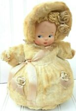 Vintage Music Box Stuffed Toy Bed Doll Mask Face Plush Body Spins Lace Trim