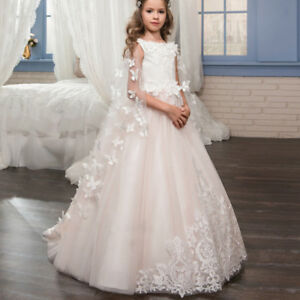 ABAO Children's Girls' Pale Pink Elegant Lace Butterfly Elegant Ball Gown Dress