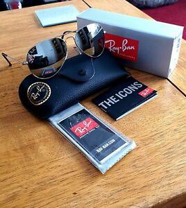 Ray-Ban Aviator RB3025 W3277 GENUINE 58-14 Silver mirror NEW sunglasses