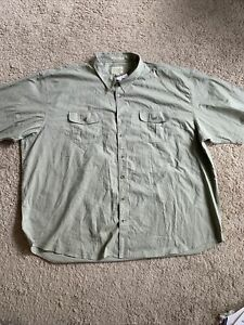 New Men's Cabela's Khaki Button Front Short Sleeve Shirt 5XL (KK17)