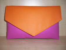SMALL ORANGE & HOT PINK faux leather clutch bag, fully lined BN lovely!