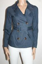 Dotti Designer Blue Long Sleeve Belted Trench Coat Size 8-XS  #SJ05