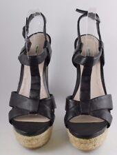 Miu Miu Black Leather Block Heel Platform Espadrille Sandals Size 40