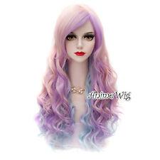 Long Pink Purple Mixed Blue 65CM Curly Fashion Cosplay Lolita Harajuku Wig