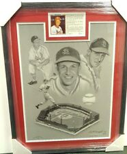 Stan Musial Signed Lithographic Print Custom Frame Matte 28 x 22 JSA