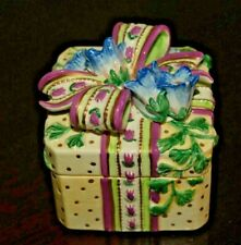 """Fitz and Floyd Beautifully Decorated Floral Vintage Trinket Box 3"""" Square"""