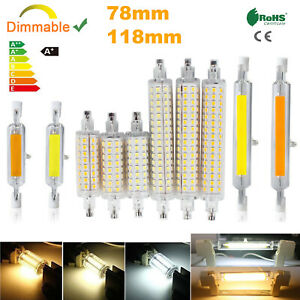 Dimmable R7s LED COB Corn Light Bulb Glass Tube Lamp 78mm 118mm Replace Halogen