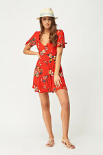 Ladies Red Button Up Floral/Flower .Skater-Fit & Flare.Tea Dress..Size 8 RRP£46