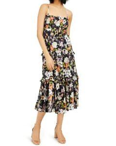 INC Women's Dress Black Size Medium M Maxi Smocked Tiered Floral $119 #229