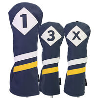 Majek Retro Golf 1 3 X Driver & Woods Headcover Blue White Yellow Leather Style