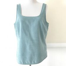 Ice Clothing Sleeveless Perforated Blouse Top Womens Size 10 Blue Faux Suede