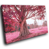 SC648 Pink Tree Swing Cool Funky Landscape Canvas Wall Art Large Picture Prints