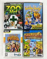 PC CD Video Game Bundle, School Tycoon, Holiday World, Zoo Vet, Farm Frenzy 3