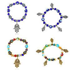 Womens Girls Hamsa Hand Charms Eye Beads Lucky Bracelet Elastic Wristband Bangle