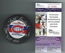 "EMILE ""BUTCH"" BPIUCHARD SIGNED MONTREAL CANADIENS RAVENS ATHLETIC PUCK JSA COA"