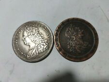 More details for 2 x two british coins george iii 2 pence 1797 copper & george ii 1746 crown