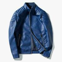 New Men's Slim fit jacket stand collar Biker Motorcycle PU Leather Jacket Black