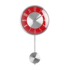 De Pared De Péndulo Del Reloj Plata Cara Roja Reloj Analógico Casa Oficina Decoración Nuevo