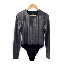 Bardot Women's Black Sparkly Bodysuit Top Size L Long Sleeve