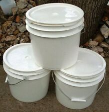 3 Food-Grade Used ROPAK USA Round Bucket Pail w/Handle + EZ LID Plastic 3.5 Gal