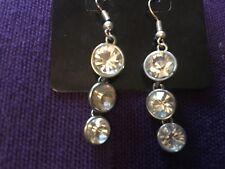 Womens Pendant Earrings Silver Metal Diamantes (B32)