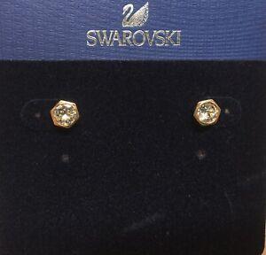 "Swarovski CZ Hexagon Stud Post Rose Gold Plated Earrings 1/4"" New 5371199 SW2"