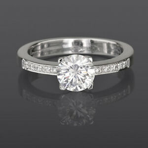 SOLITAIRE AND ACCENTS DIAMOND RING 18K WHITE GOLD 1 1/4 CARAT 4 PRONG WOMEN NEW