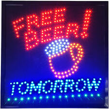 Free Beer Tomorrow LED Light Sign Man Cave Bar Pub College Party Game Room neon