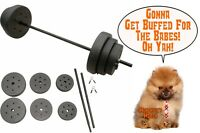 Vinyl Weight Set 100lb Barbell Weights Home Gym Fitness Equipment Adjustable