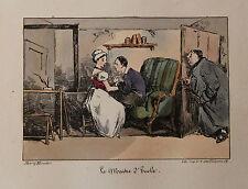 1828 Henri Monnier Lithographie couleurs à l'époque Béranger Le Maître d'Ecole