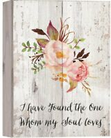 Found Whom My Soul Loves Floral Whitewash 10 x 7 Wood Boxed Pallet Wall Plaque