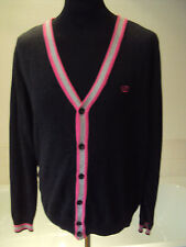 """Next ~navy blue all cotton knitted cardigan pink/grey contrasting trim- M 40-42"""""""