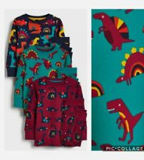 3 x NEXT Kids Boy Pyjama Sleepwear PJ Plum Green Navy Blue Dinosaurs Set 2-3 Y