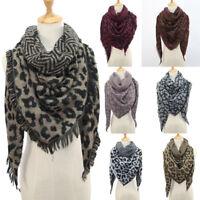 Women Winter Warm Leopard print Long Wrap Shawl Scarf Scarves Stole Cape Scarf T