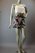 New with Tags MINK PINK Black White Floral Silky Polyester Belt Shorts Small