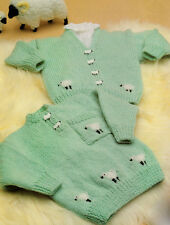 "Little Lamb or Sheep Baby Jumper & Cardigan  18"" - 24"" DK Knitting Pattern"