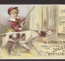 Antique ca. 1893 Pointer Hunting Dog Hunter Spring Shade Roller Advertising Card
