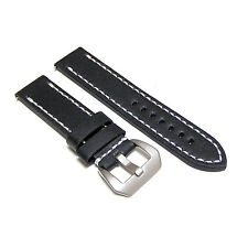 24mm Handmade Black Cowhide Leather Watch Band Strap with Pre-V Buckle