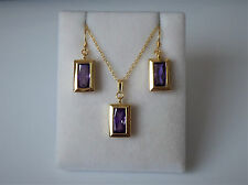 18ct Gold Plated Oblong Purple Stone Backset Earrings and Pendant Necklace Set.