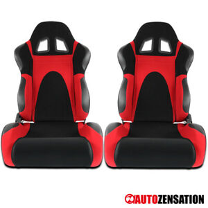 (Left+Right) Black/Red Faux Suede PVC Leather Type-6 Sport Racing Seats Pair